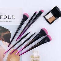 étiquette d'expédition personnalisée achat en gros de-Brosse de maquillage de marque privée pinceaux de maquillage violet 7pcs avec logo personnalisé dhl livraison gratuite + cadeau