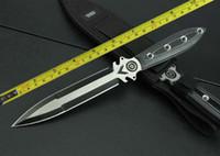 ingrosso coltello di stivali-Spedizione gratuita Nuovo 440 Double Blade Micarta Handle Boot Dagger Survival Hunting Knife VTH122