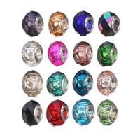 çekirdek kuyumculuk toptan satış-925 Gümüş Çekirdek Faceted Büyüleyici Çok Renkli Charms Boncuk 16 Stil Aksesuarları Boncuk Takı DIY Big Hole Boncuk Bilezik D661S