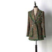 vestes à franges achat en gros de-Femmes mode frange élégante frange vert veste en tweed poches à col cranté double boutonnage nouveau 2018 automne hiver