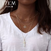 ingrosso collane opal choker-17KM Vintage Opal Stone Chokers Collane Moda multi strato Crystal Eye Pendant Necklace Dichiarazione Bohemian Jewelry for Women