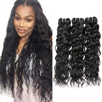 Wholesale wavy human hair extensions online - 8A Cheap Brazilian Virgin Hair Water Wave Bundles Wet And Wavy Virgin Brazilian Human Hair Weave Malaysian Curly Weave Hair Extensions
