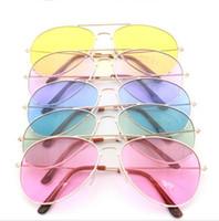 Wholesale frog wholesale - Fashion Women Sunglasses Multi Color Transparent Resin Lens Metal Frame Frog Mirror Protect Eyes Men Sun Glasses Best Sale 2 5mn Y