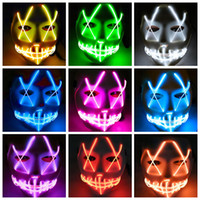 Wholesale mouth light toy resale online - EL Wire Ghost Mask Colors Slit Mouth Light Up Glowing LED Mask Halloween Cosplay Party Masks LED Toys OOA5535
