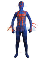 zentai spiderman lycra blue venda por atacado-Spiderman 2099 traje azul fullbody impressão homem-aranha traje de Halloween spandex zentai terno