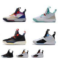 yeni yardımcı kutu toptan satış-Satılık Mens Jumpman XXXIII 33s retro basketbol ayakkabıları j33 Görünür programı siyah out ile Gelecek uçuş yeşim aj33 yeni 33 sneakers çizmeler kutusu