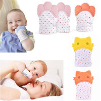 Wholesale toddler infant toys for sale - Safe Silicone Teether Gloves Baby Pacifier Gloves Toddler Nursing Teething Glove Toys Teether Chewable Glove Infant Sound Toys MMA1066