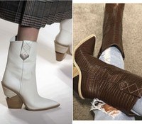 plus größe chunky fersen großhandel-Mehrfarbengewebe Womens Knöchel Oxford Stiefel Spitz Cowboy Halbe Booties Chunky High Heels Mädchen Abend Party Schuhe Plus Größe