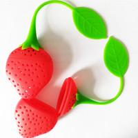 folhas de morango venda por atacado-Projeto da fruta Adorável Morango Forma Chá Infusor Food Grade Silicone Coador De Chá Para Afrouxar A Folha Em Teapo