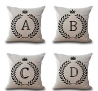 ingrosso gettare cuscini corona-Crown Letter 43 * 43cm Cotone Lino Throw Pillow Cushion Car Decorazione della casa Divano Decor decorativo Federa