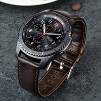 Wholesale Classic Closures - URVOI band for Samsung Galaxy Gear S3 R760 R770 strap retro genuine leather band with closure classic design replacement 22mm