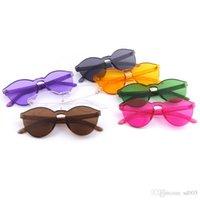 glasses nose pads achat en gros de-Mode lunettes de soleil rondes couleur bonbon femmes en plastique lunettes de soleil facile à nettoyer