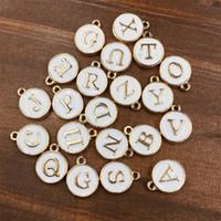 ingrosso fascino di occhiali da gufo-260pcs 10 insiemi A-Z bianco / rosa Charms Lettera olio goccia gioielli, disco oro pendente alfabeto perline fascino per gioielli fai da te