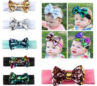 Wholesale beautiful hair bows - New Fashion Beautiful Baby Sequin HeadBand Colorful Flexible Elastic Bow Hair Accessories Kids Lovely Gifts KHA410