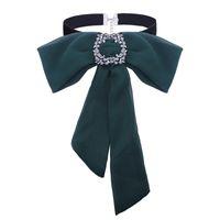 Wholesale leather bib necklaces - Fashion Chiffon Bowknot Choker Necklace Rhinestone Leather Bib Chain Skirt Decoration Bow Tie Collar Necklace Gift