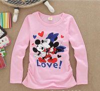 camisas de color gris al por mayor-2018 múltiples Color niños de los niños de dibujos animados y niñas camiseta de manga larga ropa casual gris gatito rosa camisa de algodón suéter