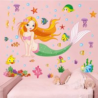 Wholesale small puffy sticker resale online - Children Room Wall Sticker Personality Pvc Murals Colourful Moisture Proof Removable D Decals Mermaid Seaworld Theme lk gg