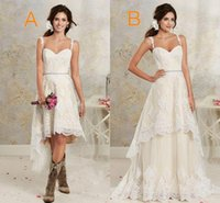 Wholesale multi layer t shirt - Two Styles Lace Country Wedding Dresses High Low Short Bridal Dresses Floor Length Floor length Multi Layers Bohemian Gowns For Wedding