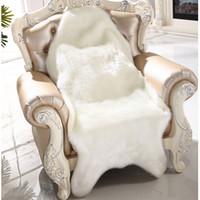 ingrosso coperte di sedia bianca gialla-Artificiale pelle di pecora soffice pelliccia sedia sedile copridivano tappeto tappetino pad area tappeto camera da letto lavabile decorativo bianco grigio viola rosso