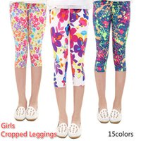 Wholesale sports baby clothes online - 3 Length Girls Leggings Floral Print Silky Sport Yoga Pants Summer Girls Pants Children Skinny Pants Kids Clothing Baby Girl Clothes