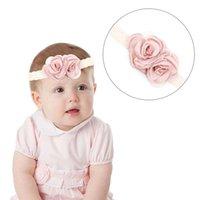 Discount princess rose hair - Shiny Pink Rose Headband Baby Girl Fashion Comfortable Lace Hair Band Children Kids Princess Beautiful Headwear Accessory