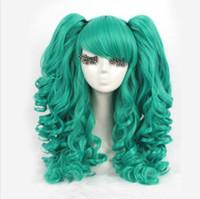 peluca de pelo rizado para cola de caballo al por mayor-Lolita verde rizado Clip cola de caballo cosplay peluca fiesta