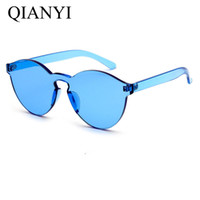 Wholesale Yellow Glass Candy - Fashion womens sunglasses brand designer Women Cat Eye Shades Sunglasses Integrated UV Candy Colored Glasses oculos High Quality 6 color