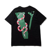 secadora de ropa encogible al por mayor-Lo nuevo Vlone camiseta estampada con serpiente para hombre 2019 Moda para hombre de algodón Amigo Skateboard Hip Hop Camiseta camiseta top clothing S-XL