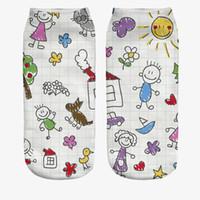 schnittflasche großhandel-Mode 3D Gedruckt Frauen Socken Weiß Erdnussbutter Flasche Frauen Unisex Nette Low Cut Socken Casual