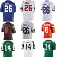 Wholesale new jersey jets - 2018 New York Giants Saquon Barkley #26 Jersey Men Cleveland Browns Baker Mayfield #6 New York Jets Sam Darnold #14 Football Jerseys