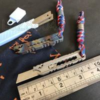 garrafas da corrente chave venda por atacado-Edc handmade baked faca azul faca de papel dragão tc4 titanium táticas sobrevivência chaveiro garrafa de emergência kai multi ferramentas ao ar livre