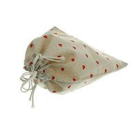 Wholesale branded bedding sets - 3 Sizes Christmas Wedding Bags Cotton Linen Drawstring Pouch Bag Heart Printed Jute Pouch brand new