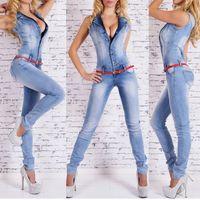 ingrosso tuta di tuta blu profonda-Estate Donna Deep V-neck Tute Jeans Pantaloni senza maniche Denim blu Pantaloni lunghi Jeans sexy Pagliaccetto M-XL