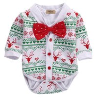 Wholesale neck ties baby sizes for sale - Group buy XMAS Newborn Baby Boy Romper Coat Bow Tie Outfits Set Gentleman Party Clothes Size M