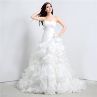 Wholesale Tube Lace Wedding Dresses - Free Shipping New Arrivals 2018 Tube Top Wedding Dresses White Augen Head Fishtail Towel Lace Sweet Sweater Church Dresses