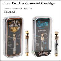 metal etiketler etiketler toptan satış-Pirinç Knuckles Kartuşları Altın Cam A3 Bağlı tankı Vape Kartuşları lezzet Ile 0.5 ml 1.0 ml Seramik Bobin Çift Pamuk Bobin etiket etiket