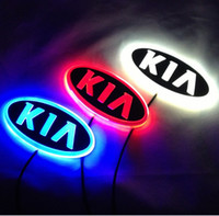 autocollant logo kia achat en gros de-11.9 cm * 6.2 cm Voiture Emblème lumière pour kia k5 sorento âme forte cerato Badge Autocollant LED lumière 4D logo Emblèmes lumière