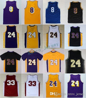 Wholesale low shirts - Cheap 24 Retirement Jersey 8 Throwback High School Lower Merion 33 Shirt Yellow Purple White Black Blue Red Stitched Size 44-56