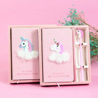 Wholesale notepad designs - 28 Designs Delicate Diary Stereo Flamingo Unicorn Notebook With Pen Student Lovely Notepad School Supplies NNA364