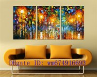 Wholesale people oil painting canvas - People Walking On The Street , 3 Pieces Home Decor HD Printed Modern Art Painting on Canvas (Unframed Framed)
