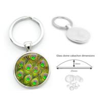 amuleto de metal pavo real al por mayor-Charm Peacock Feathers Glass Cabochon Llavero Colgante Accesorios