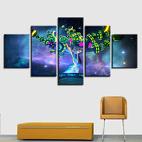Wholesale oil painting landscapes dark - Canvas Pictures 5 Pieces Dark Nebula Abstract Neon Tree Paintings Modular HD Prints Poster Wall Art Framework Living Room Decor