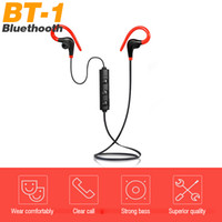 custom brand logo 2018 - Bluetooth earphone BT-1 hanging neck sports Bluetooth headset Wireless mini earbuds Custom made LOGO For IOS Android