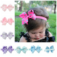 Wholesale hair elasticity - 4inch Baby Girls Headbands Hair Weave Polka Dot Bowknot Elasticity Band Girls Bow Headband Infant Hair Accessories Toddler Hairband KHA212