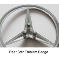 vinil de farol amarelo venda por atacado-Matt Black Trunk Estrela Traseira Emblemas Emblemas Emblemas Para Mercedes Benz AMG W176 W116