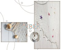 Wholesale Decoration Fish Stickers - 1*2m,2*4m Blue White Fishing Net,bar 3d wall decoration Nautical Home Decor for embroidery Mediterranean Style Sticker Crafts