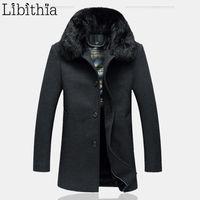 мужская одежда оптовых-Мужчины длинный стиль полушерстяные куртки причинно-следственной кнопки съемный меховой воротник большой размер XL-5XL Осень Зима одежда мужской черный T254