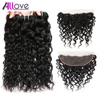 Wholesale wavy hair machine resale online - 8 quot Brazilian Hair Body Deep Peruvian Water Wave with Lace Frontal Closure Wet and Wavy Loose Curly Human Hair Bundles with Closure