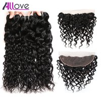 Wholesale Ocean Wave Hair - Allove 8A Brazilian Virgin Hair Peruvian Water Wave 3pcs with Frontal Closure Wet and Wavy Malaysian Human Hair Indian Ocean Wave