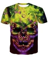 neuheit schädel hemden für männer großhandel-Schädel T-Shirts 3D Männer T-shirts Neuheit Animal Tops T-Shirts Männlich Kurzarm Sommer Rundhals T-Shirts dropshiping